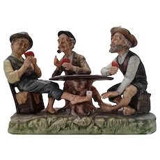 "Capodimonte By Gino  ""3 Men Playing Poker"", ca 1960"