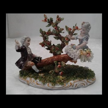 "Capodimonte "" Swing"" by San Marco Italian Porcelain Figurine, ca 1925"