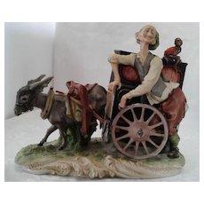 Capodimonte Porcelain Donkey Cart Organ Grinder W/ Monkey Music Box, ca 1925