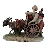 Capodimonte Porcelain Donkey Cart Organ Grinder W/ Monkey Music Box, ca 1925
