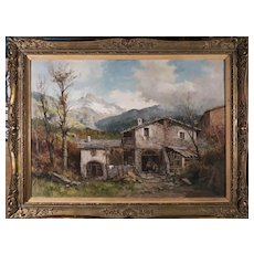 Tirolian Alps With A Mountain Cottage Original Oil Painting, 20th Century