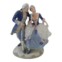 Vintage Royal Dux Porcelain Figurine of Dancing  Couple, ca 1960
