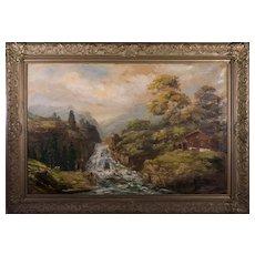 19th Century Swiss Alps Mountain Landscape Oil on Canvas