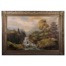 19th Century Swiss Alps Mountain Landscape Oil on Canvas