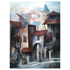 Old Tbilisi by M.G Dekanoudze Georgia Artist Oil Painting, ca 1990