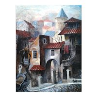 Old Tbilisi by M.G Dekanoudze Georgia Artist Oil Painting, ca 1990