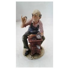 """Capodimonte By Pucci """"Clock Watchmaker"""", ca 1940"""