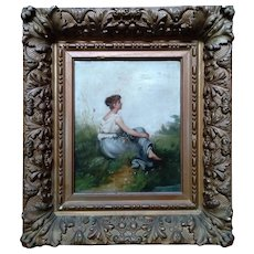 Yong Girl by Pierre Eugene Maison (French, 1814-1879 ) Original Oil Painting