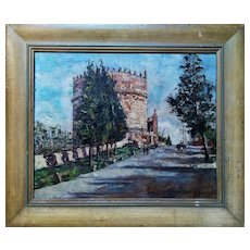 Strada by Luciano Albertini (Italian, 1910–1985) Listed Artist, Oil Painting, ca 1937