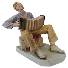 Great Rosenthal Porcelain Accordion Player Figurine, ca 1950
