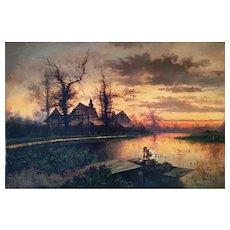 19th Century Dutch Genre Scene of Fisherman by Dock Oil on Canvas