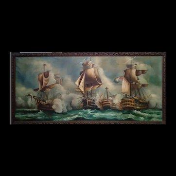 Battle of Trafalgar Original Oil Painting on Canvas 19th Century