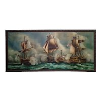 Battle of Trafalgar Original Oil Painting on Canvas 19th Century