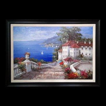 Mediterranean Scene by Antonio  Di Viccaro Orginal Oil Painting ,ca 1980