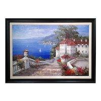 Mediterranean Scene by Antonio  Di Viccaro Original Oil Painting ,ca 1980