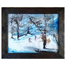 Oil Painting of Skiers in Snowy Landscape  by Morris Katz , ca 1981