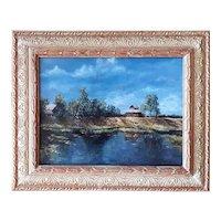 Hot Afternoon in a Russian Village by Svetlana Koksharova Original Oil Painting, 21 Century Original