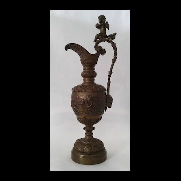 French Bronze Jug  in the Form of Amphora Urn, ca 1890