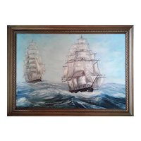 Signed Oil Painting Sailing Ship by Jantz ,ca 1971