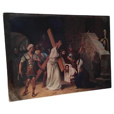 Christ on the Road to Calvary Original Oil Painting, 19th Century