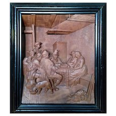 """""""In Tavern"""" Wood Carving Relief  , by B.Schwarz, ca 1920"""