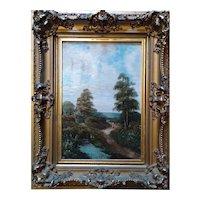 British Listed Artist Edwin Cole  Oil on Canvas  Cottage Landscape, ca 1900