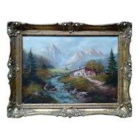 Tirolian Alps  Original Oil Painting, 20th Century