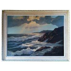 """Original Oil Painting """"Seascape"""", 20th Century"""
