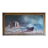 """Boat"" Large Original Oil Painting, 20th Century"