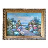 """Garden in the Morning"" Original Oil Painting Signed Salomon, 20th Century"