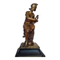 "Antique Bronze Sculpture '' Girl with Mandolin"" 19th Century"