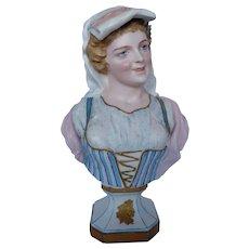 Rare French Bisque Porcelain Bust by Mauger & Fils, Paris, France, circa 1880