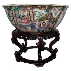 Chinese Export Famille Rose Porcelain Mandarin Punch Bowl, 20th Century