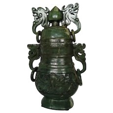 Chinese Green Jade Archaic Style Covered Urn, 19 Century