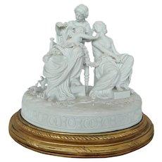 Rare Antique French Bisque Porcelain  Group Statue Figurine, 18 Century