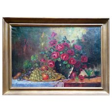 """Still life"" by Jean Laudy Original Oil Painting, 19th Century"