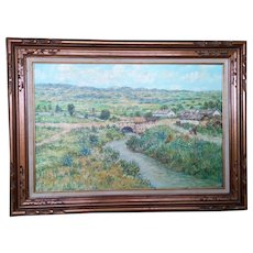 Landscape by Hungarian Artist Fent Original Oil Painting, 20th Century