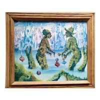 """""""Green People in Jungle"""" Surrealism Art Oil Painting, 20th Century"""