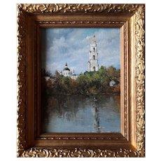 Russian Church by Svetlana Koksharova Original Oil Painting, 20th century