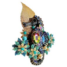 Designer Mark Mercy Stanley Hagler Costume Hand Beaded Figural Sea Theme Brooch Pin