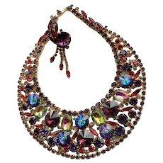 Juliana Margarita Demi Parure Watermelon Bold Crystal Rhinestone Statement Necklace Earrings Demi Parure Jewelry Set Book Piece