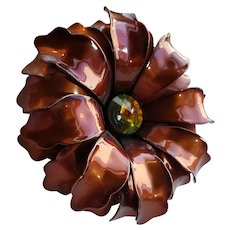 Retro Vintage Root Beer 1960s Flower Brooch Pin Rhinestone Center Stone