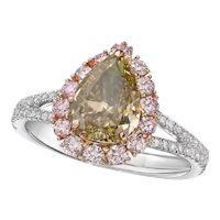 GIA 2 Carat Fancy Grayish Greenish Yellow Diamond 18k Ring