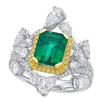 KAHN GRS 2.79 Carat Zambia Emerald 18k Diamond Ring