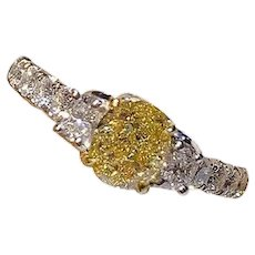 GIA 1.03 Carat Fancy Yellow VS1 3-Stone Diamond 18k Ring