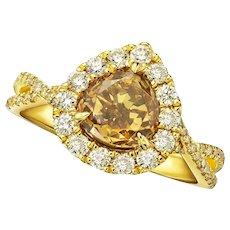 KAHN GIA 1.74 Carat Fancy Yellow Diamond 18k Ring