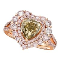 GIA 2 Carat Fancy Brown Greenish Yellow Diamond 18k Ring