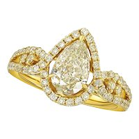 18K Gold and Diamond Pear Ring with GIA Reported 1.33CT Fancy Light Green- Yellow