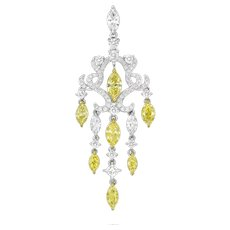 18K Gold(750 Gold) and Diamond Fancy Yellow and White Diamonds Pendant