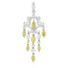 18K Gold and Diamond Fancy Yellow and White Diamonds Pendant